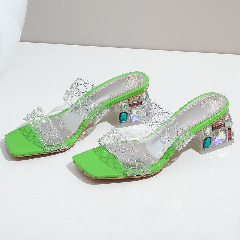 Mode transparente Sandalen Sommer Frauen Schuhe Square Niedrige Fersen Kristall Hausschuhe Casual Damen