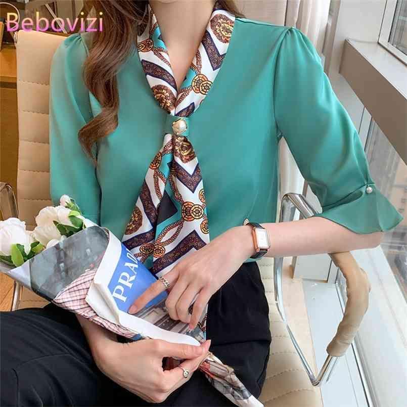 Weiße grüne lose mode koreanische bowknot sommer chiffon casual v-ausschnitt frauen tops und blusen büro dame arbeitskleidung 210603