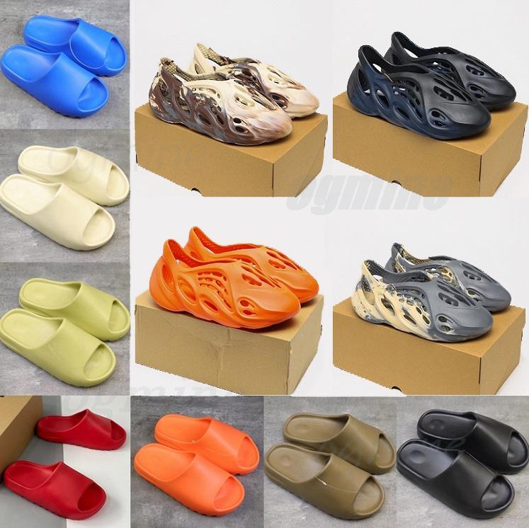 Kutu Terlik Kanye Wests Sandalet Erkekler Kadınlar Üçlü Slaytlar Kemik Reçine Çöl Kum Dünya Kahverengi Köpük Koşucu Erkek Bayan Batı Terlik Slider 36-45 # Q73Z #