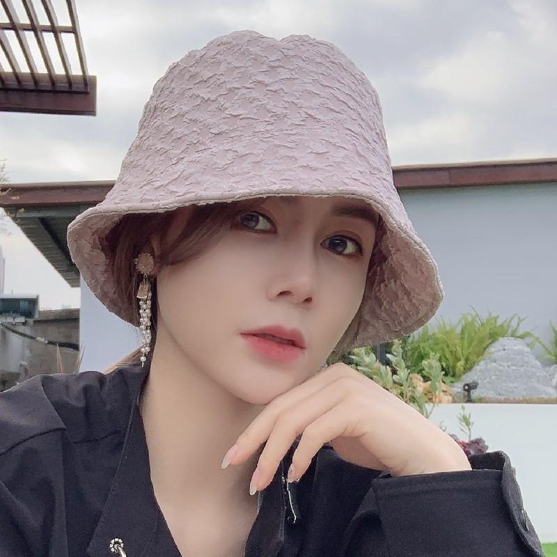 Детский корейский Seersucker Pliated Fisherman's Fashion Sun Sun Visor Hat Cover Cover Face Sunscreen Bucket Hat