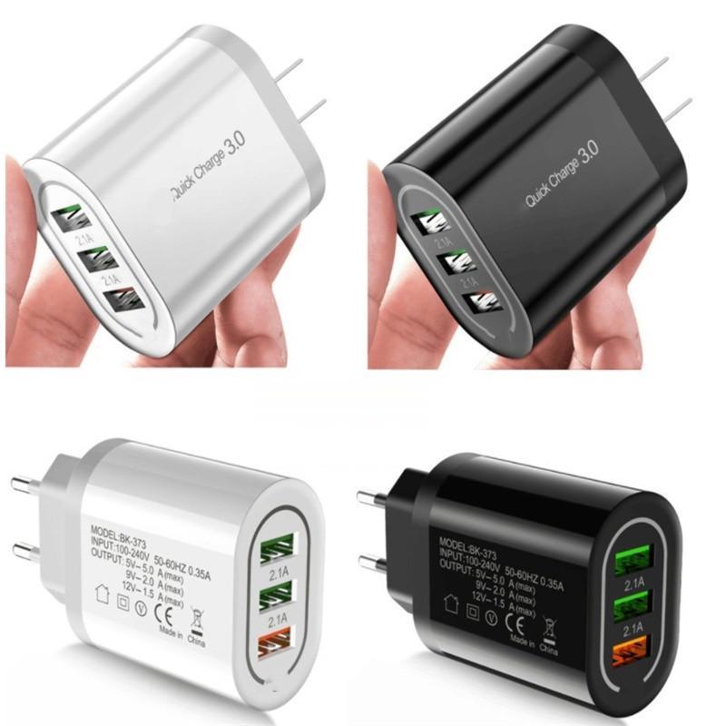 18W 3 USB QC3.0 4.8a Carregador Rápido UE UE carregadores de parede para iphone 7 8 x 10 Samsung Tablet PC MP