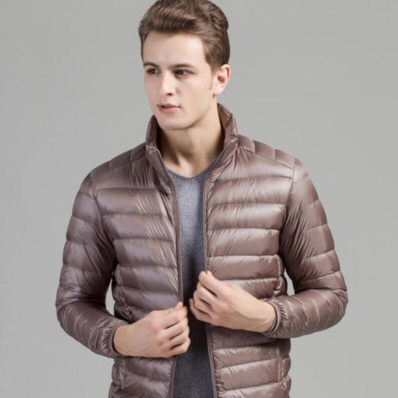 가을 겨울 남자 오리 아래로 자켓 울트라 빛 얇은 플러스 크기 봄 재킷 남자 스탠드 칼라 겉옷 코트 남성 파크