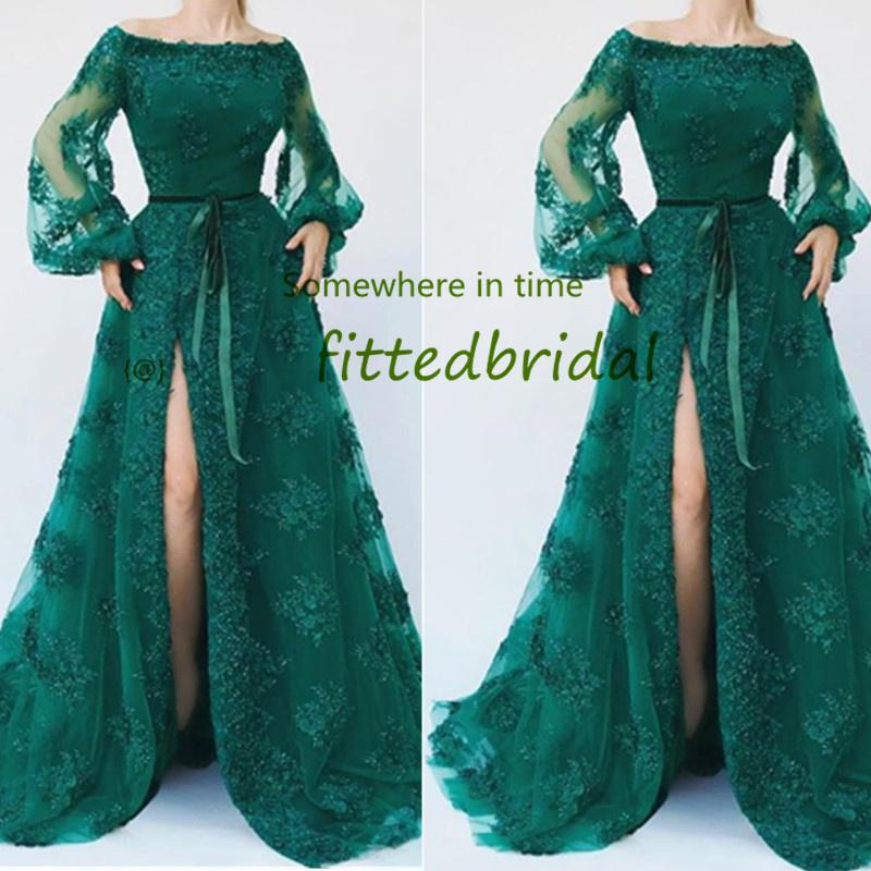 2020 Green lace A line Prom Dresses Sexy African Celebrity Cocktail Party Dress Turkish Islamic side Split Evening Gowns