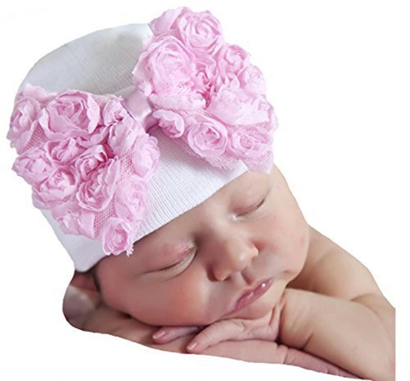Newborn baby Hats Big bow Infant stripe soft knitting hedging hat Cute Lace bowknot Baby Girls winter autumn warm Beanie Caps KBH120