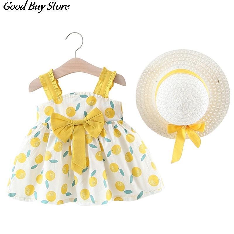 여자 여름 태양 모자 과일 드레스 세트 아이 짚 보우 모자 민소매 꽃 복장 아기 아이 해변 레이스 드레스 선 스크린 모자 캡