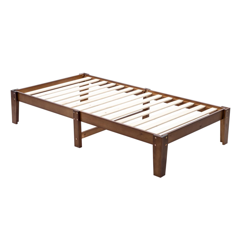 Waco деревянная рамка с двумя односпальными кроватями, простая спальня мебельная платформа, домашний отель в общежитии Essentials, сосна, коричневый