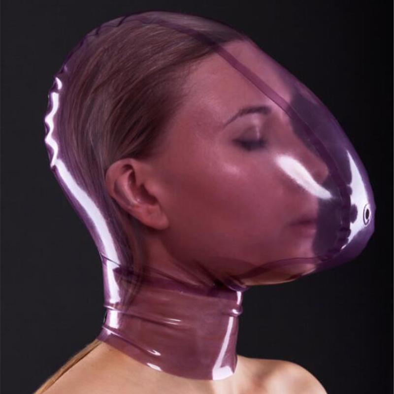 قناع اللاتكس اليدوية شفافة مع فتحة مراقبة التنفس ثقب مثير هود مصنوع من الطبيعة عالية الجودة مضغوطة