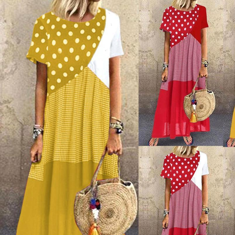 Abiti da donna a manica corta OR DOT DOTS Stripes Patchwork Great orlo lungo abito