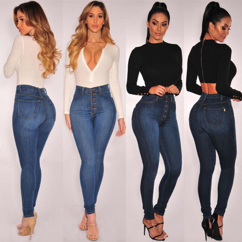 جينز المرأة المرأة الدينيم نحيل انفجرت السراويل عالية الخصر بسترات قلم رصاص ضئيلة