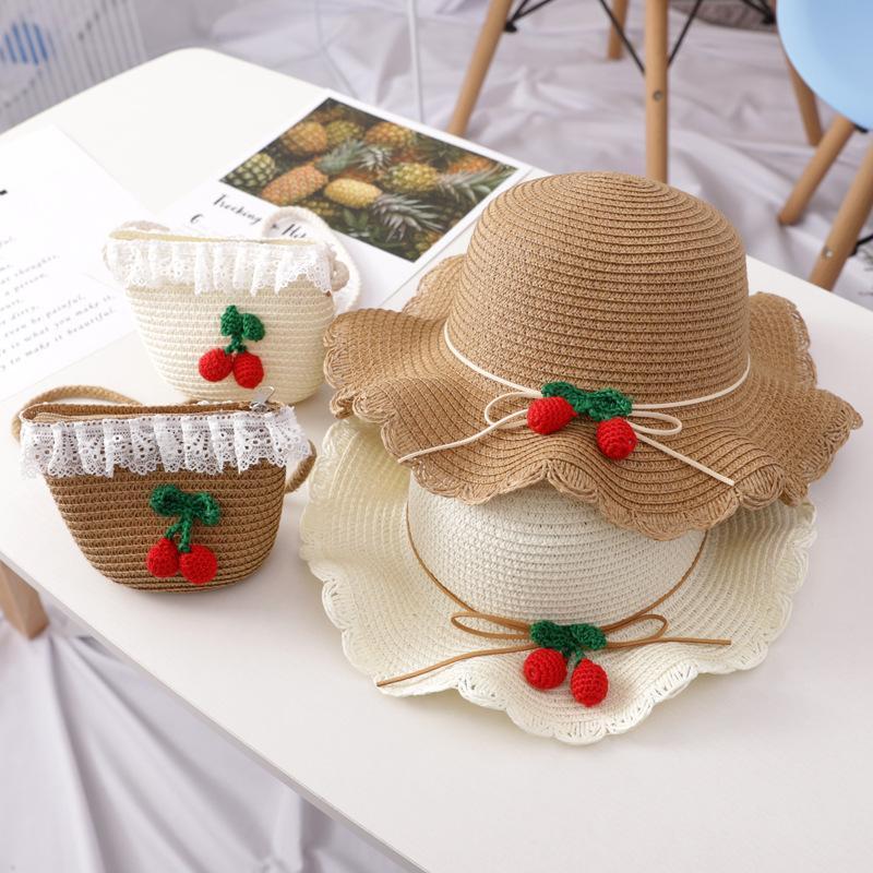 소녀 태양 모자 짚 여름 귀여운 짠 해변 모자 체리 레이스 장식 어부 가방 2 개와 야외 여행을위한 캡슐 모자 모자 모자 모자