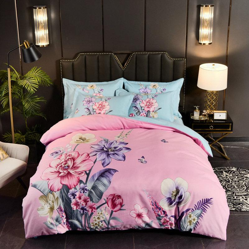 Frosted Large Flowers, Gifts, Four Pieces of Ab Version Thickened Sheet and Quilt Cover