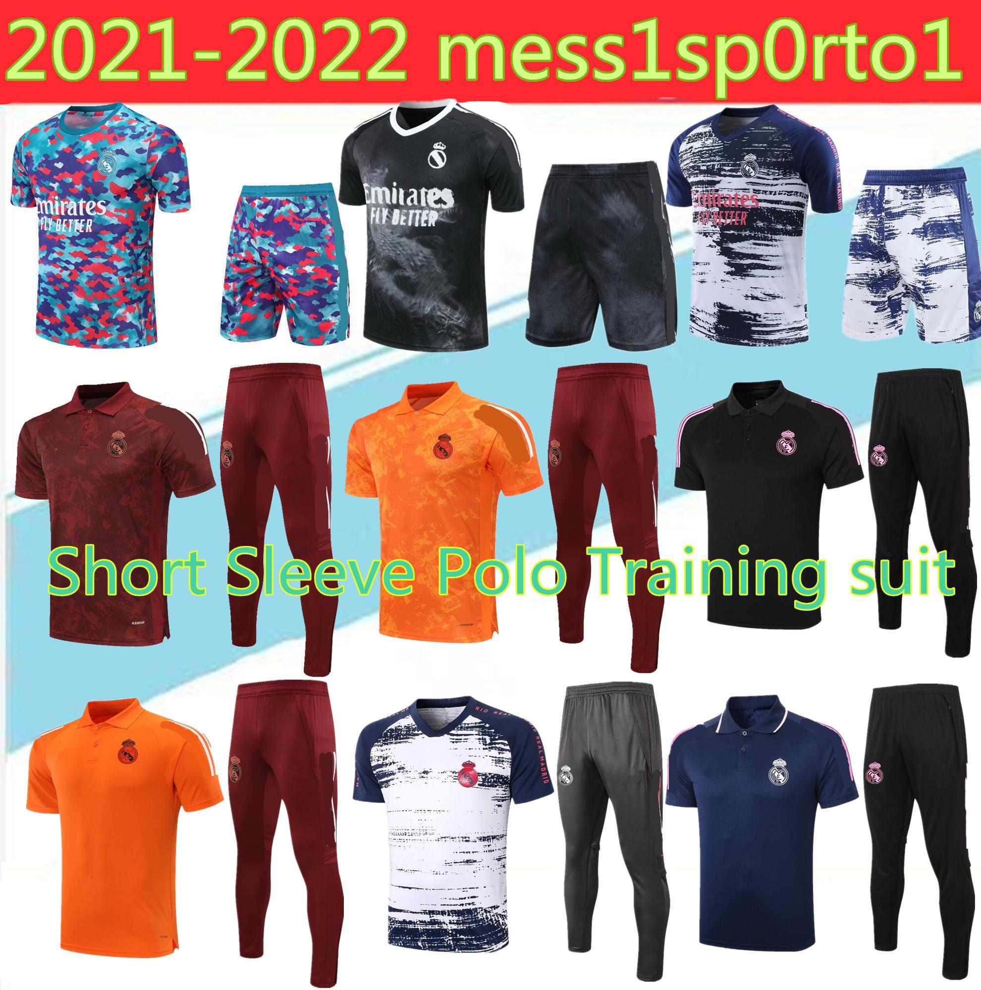 폴로 2021 레알 마드리드 축구 유니폼 셔츠 Tracksuit 바지 20 22 22 Sergio Ramos 벤즈마 Modric ISCO 베일 사이즈 S-2XL