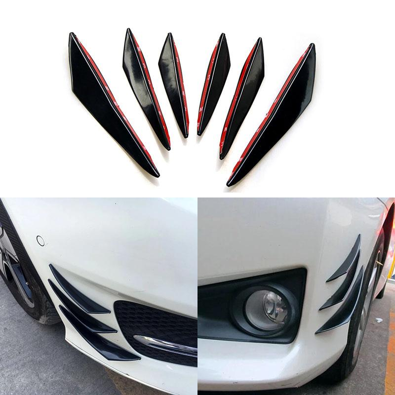 6pcs/set Universal Front Bumper Lip Decoration Diffuser Splitter Fins Body Spoiler Canards Valence Chin Car Tuning Canard