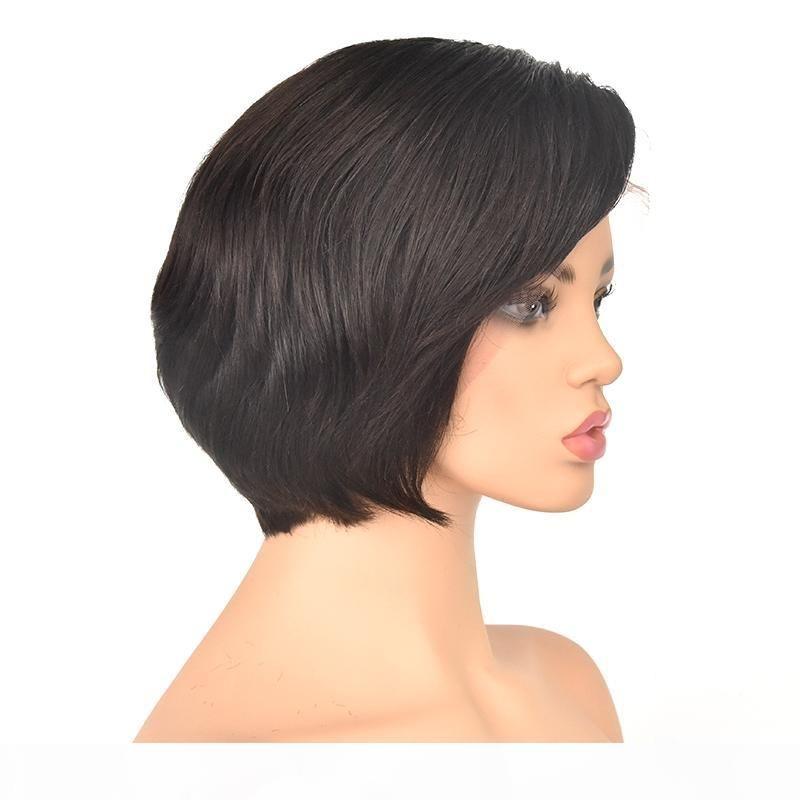 Tutkalsız Dantel Peruk Ile İpek Taç Kısa 6 inç Brezilyalı Saç Tam Kıydı Peruk Ayarlanabilir Kap Doğal Renk