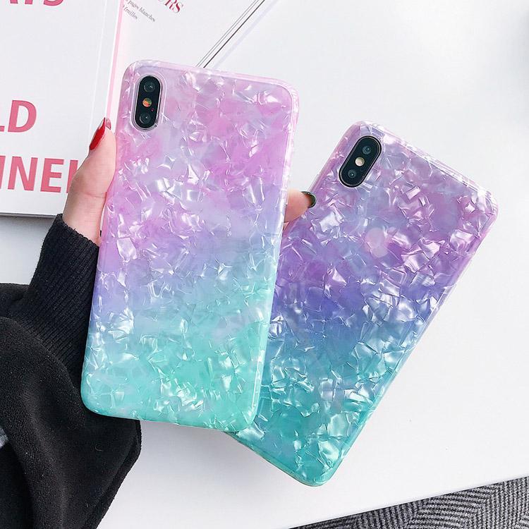 Gradual Change Color TPU Telefoon Gevallen Regenboog Paar Giltter Pearly Shell Patten Case voor iPhone 7 8Plus XR x max 11 12 Pro