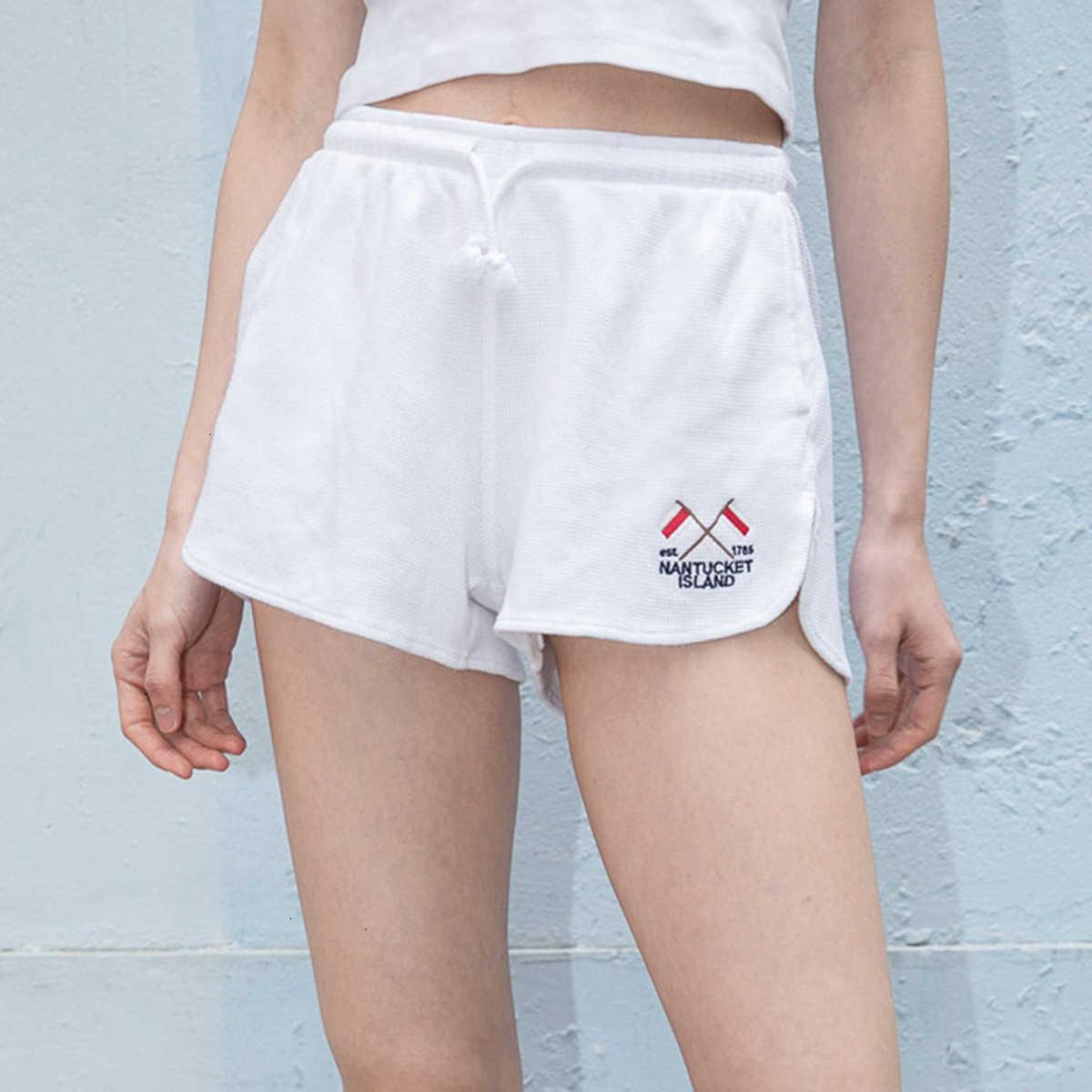 Damen Shorts Sommer Weiße Stickerei Sport Grafik Hohe Taille Kordelzug Elastische kurze Dame Baumwolle Casual YXX2