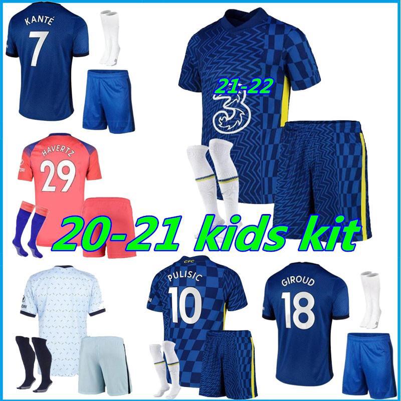 Kids Kit 21 22 Haffard Soccer Jerseys Giroud 2021 2022 Jorginho Home Higuain Morata Pedro Kante Camiseta Child Compots