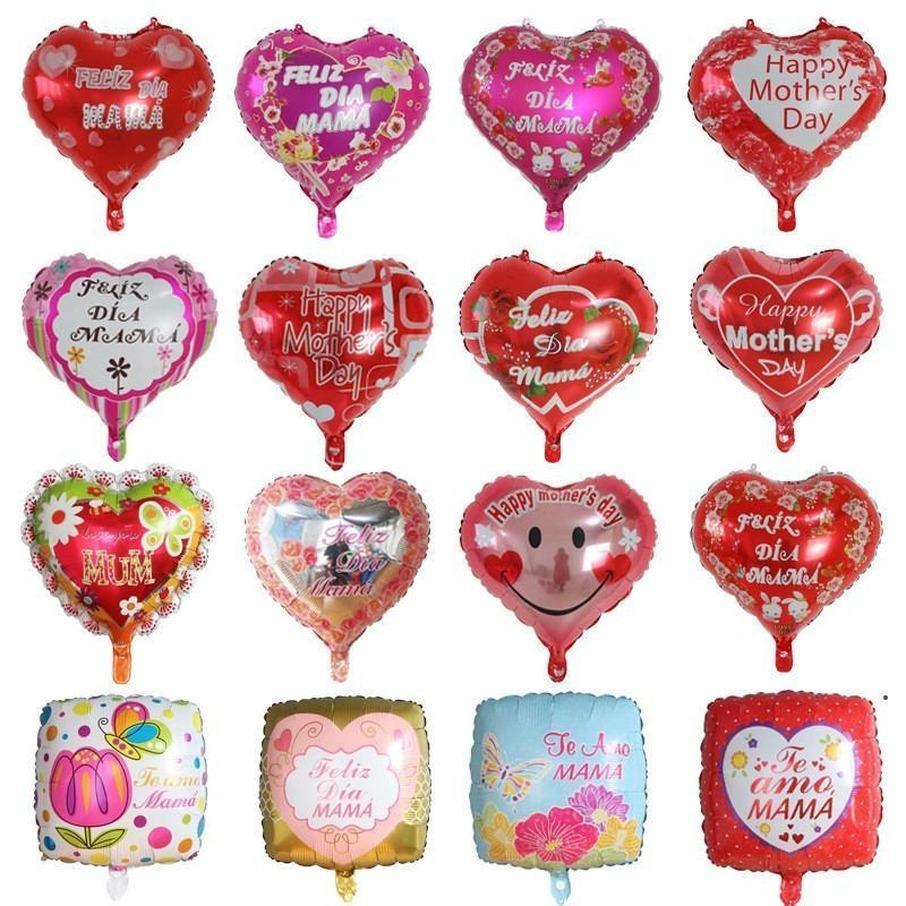 Felice giorno di madri palloncini da 18 pollici foglio a forma di foglia di amore a forma di madri palloncino inglese spagnolo mylar elio palloncini