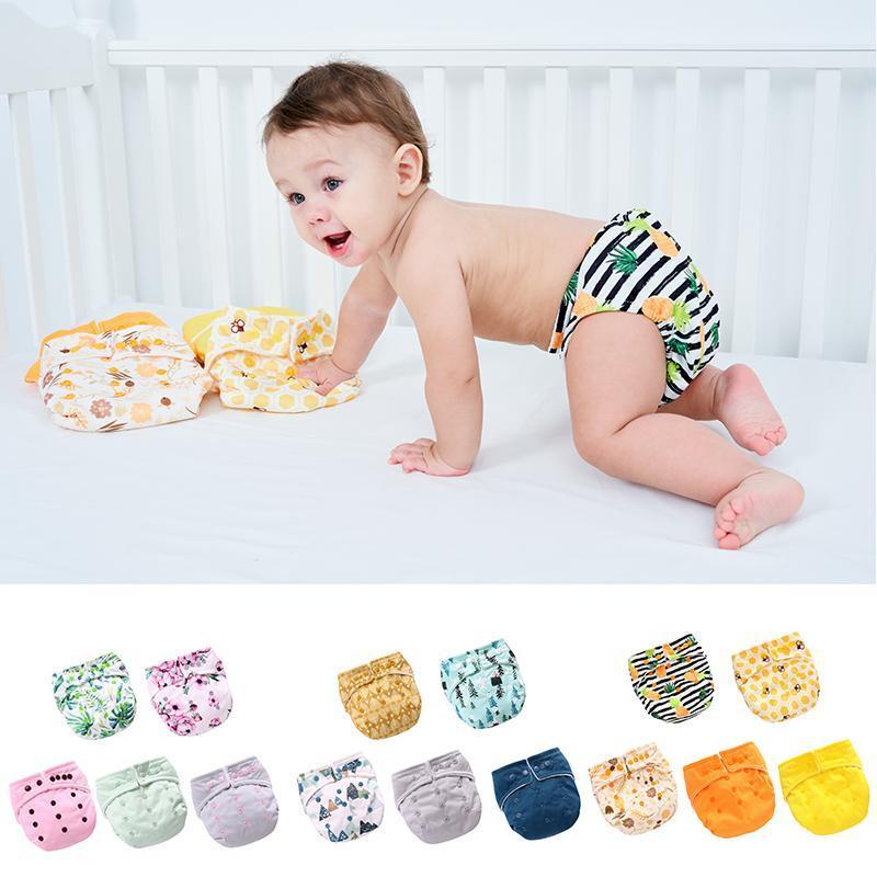 아기 유아 5 포장 훈련 바지 소년과 소녀 빨 수있는 조정 가능한 속옷 코튼 재사용 가능한 바지 적합 3-15kg 천 기저귀