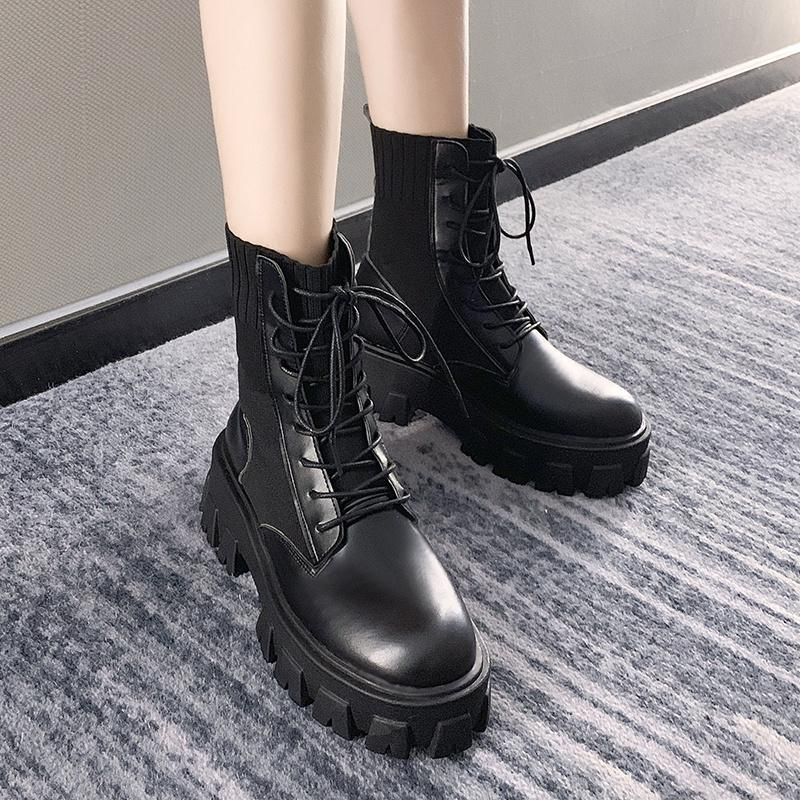 Boots Gothic Black Sock Platform Women Shoes Woman Fashion Flat Round Leather Ankle 2021 Spring Lace Up