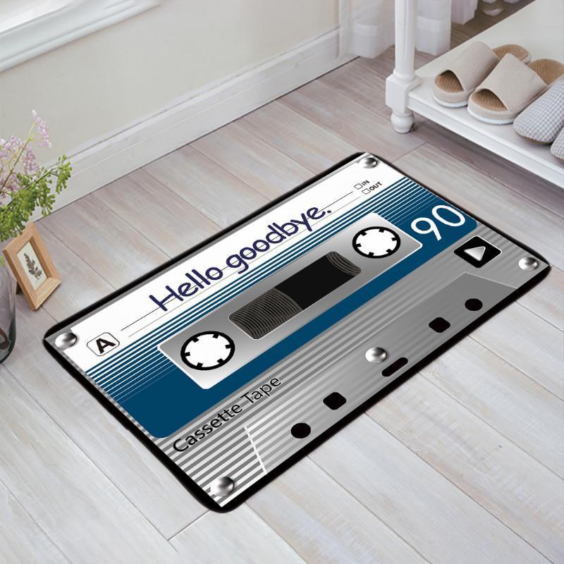 Cushion/Decorative Pillow Retro Cassette Tape Hello Goodbye Blue Printed Doormats Anti-slip Carpet Rug Bathroom Entrance Outdoor Floor Mat H