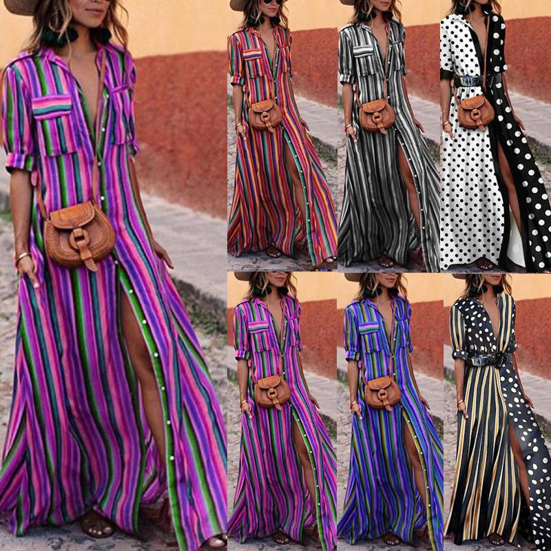 Elegant Woman Boho Long Maxi Dress Fashion Lady Evening Party Summer Beach Dresses Sundress Striped Shirt Dress