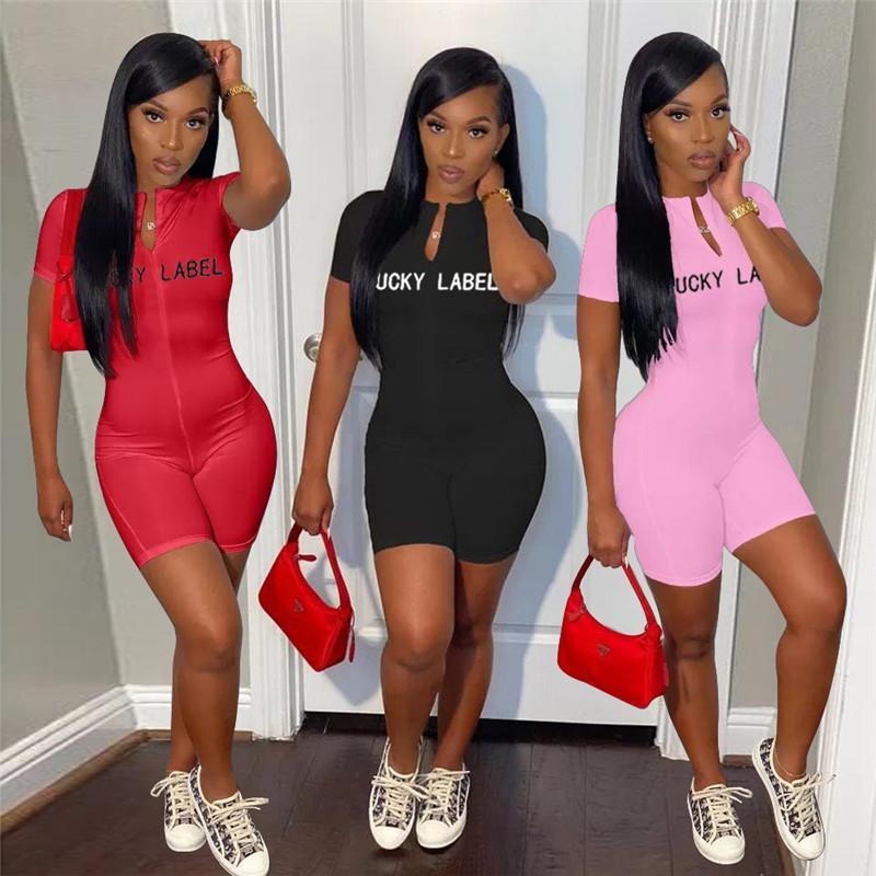 Summer Women Lucky Label Combinaisons Sexy Bodycon BodySuits à manches courtes Manche Une seule pièce Rompes Lettre XL Night Club CLUBLES 5140