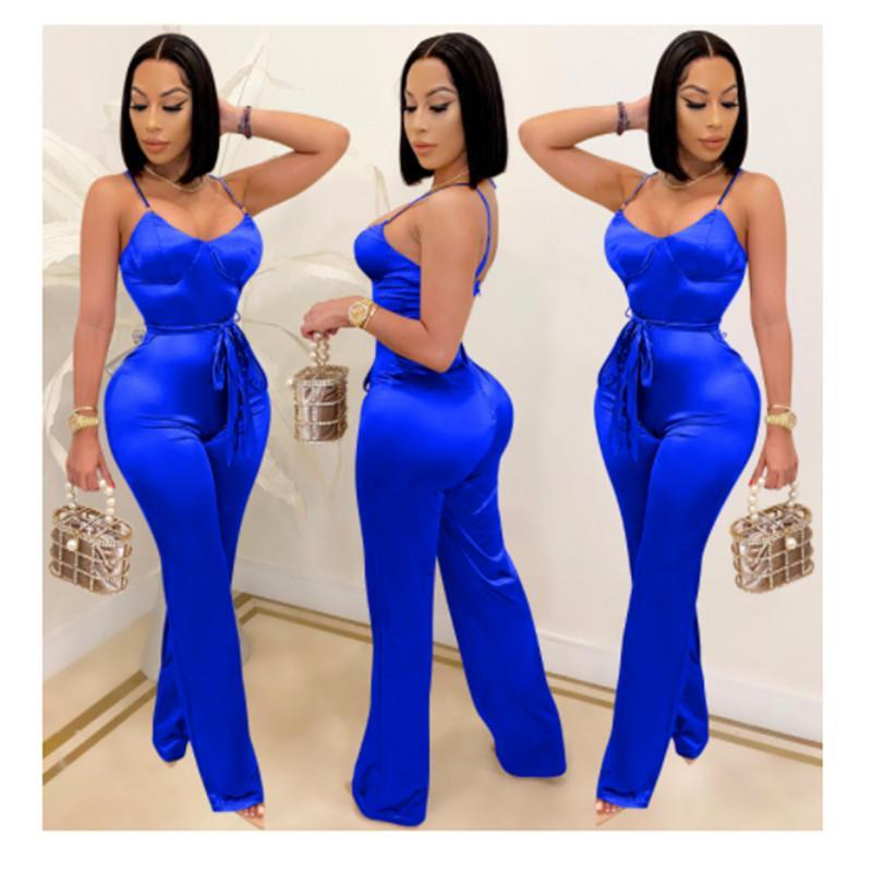 Women Summer Sexy Spaghetti Srtap Rompers 2021 Casual Loose Solid Party Playsuits Femme Backless Overalls Bandage Jumpsuits