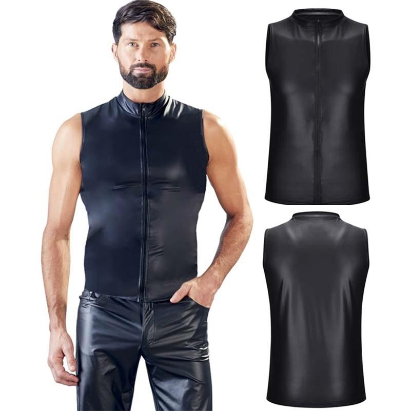 Mens Matt Couro Tanque Tops Sexy Zipper Sem Mangas Tops Homem Stage Vest Sexy Party Clubwear 210408