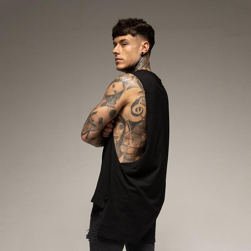 Men's Tank Tops Plain Extend Cut Off Sleeveless Shirt Gym Stringer Vest Blank Hip-Hop Muscle Tees Bodybuilding Top Fitness Clothing