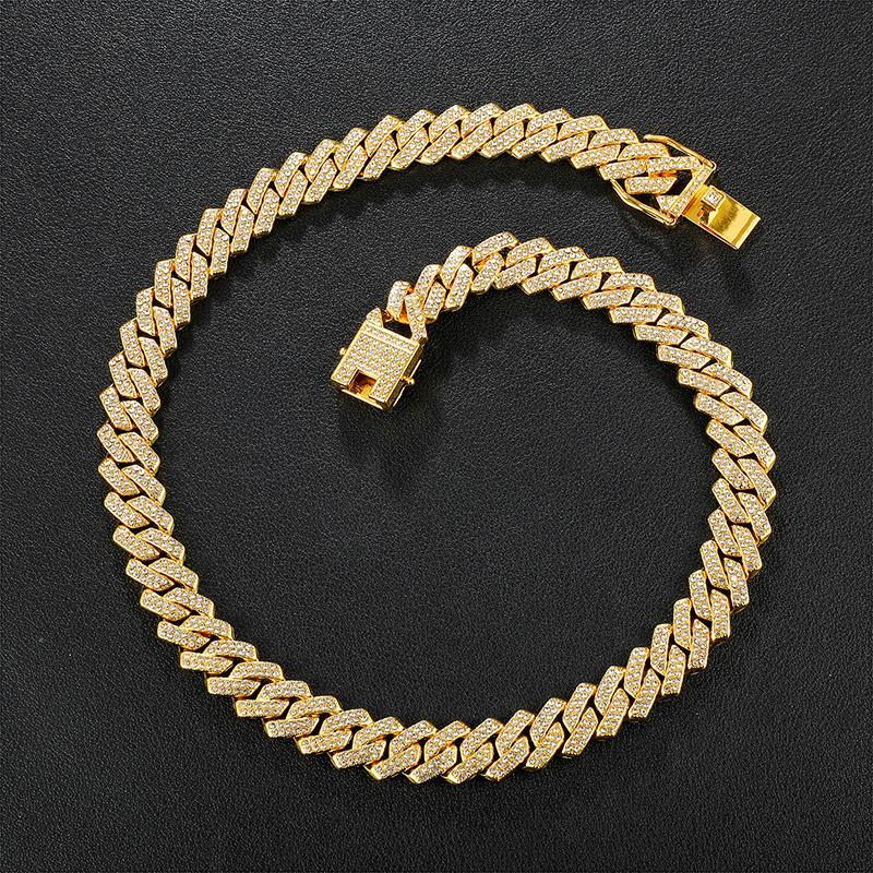 Hip Hop AAA Bling 13.5mm Catena cubana Prong Catena 2 righe Fuori da uomo Collana da uomo Rhinestone Zircon Collane lastricate per uomo Gioielli da donna