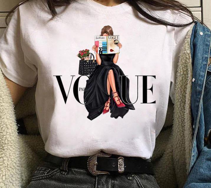 Womens 짧은 소매 보그 레터 프린트 티셔츠 캐주얼 십대 소녀 티 탑 여러 스타일을 사용할 수 있습니다. 크기 (S-3XL)는 사용자 정의 할 수 있습니다