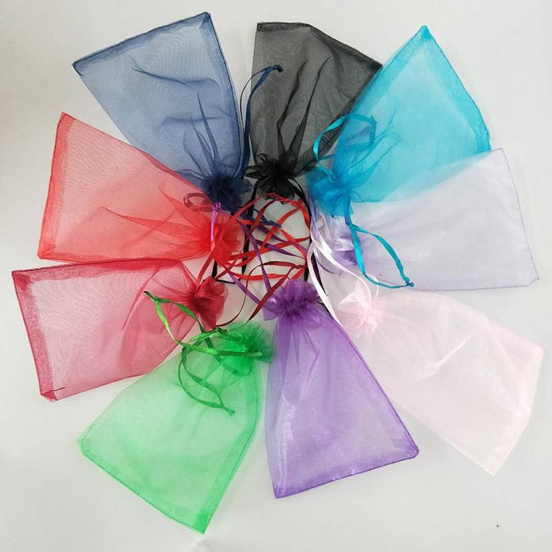Фиолетовый органза подарочная сумка свадьба одолжение партийных пакетов 9x12 см новых или других цветов 458 v2