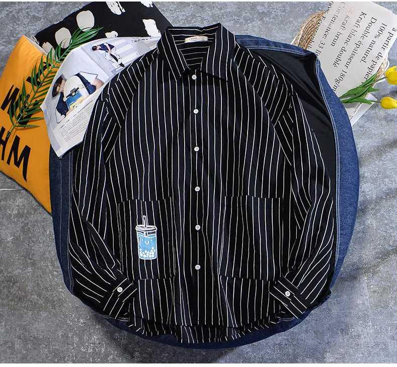 Laamei 남성 패션 셔츠 캐주얼 긴 소매 검정색 흰색 줄무늬 인쇄 탑스 느슨한 블라우스 드롭 캐미사 드 로스 hombres 남자