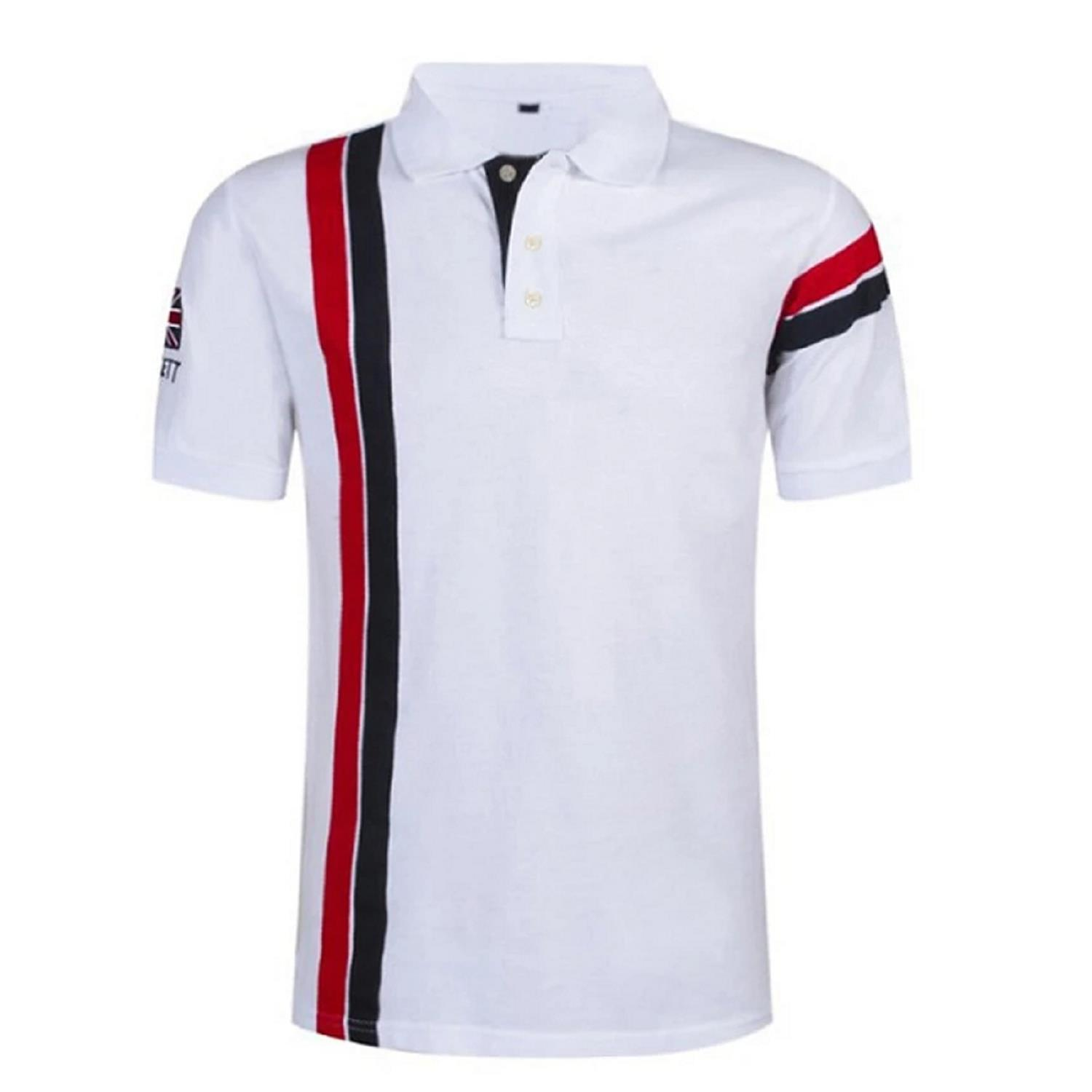 Men's POLO Golf Shirt Tennis Striped Short Sleeve Sports & Outdoor Tops Casual Daily Sporty Collar White British style Red Navy Blue