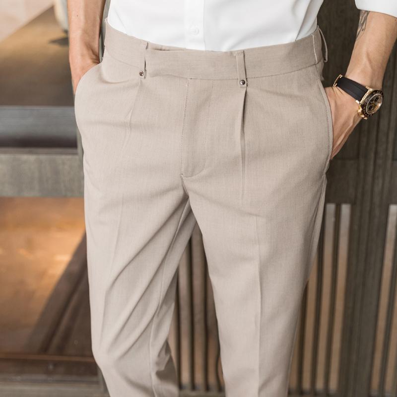 Hommes Suit de taille élastique Pantalon Business Slim Fit Pantalon formel Casual Couleur Solid Couleur Pantalon Homme Classique Vintage Pant Hommes Cuisson Blazer