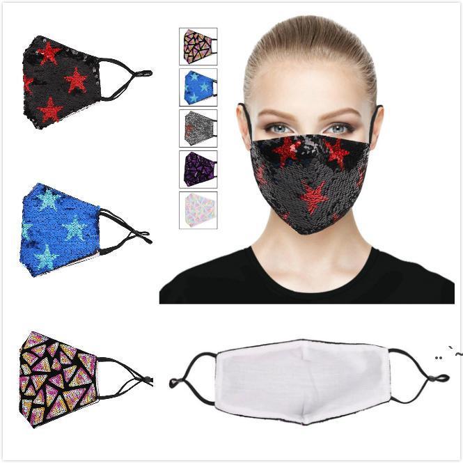 Мода, Bling 3d Моющаяся многоразовая маска PM2.5 Уход за лицом Shield Sun Gold Leving Sequins Блестящие лица Морские маски BWB6215