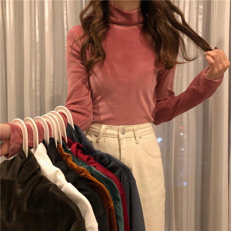 Wholesale Autumn Winter Warm Turtleneck Golden Velvet T-shirts Women Long Sleeve Solid Thicken T Shirt Slim Casual Base Tee Tops Women's T-S
