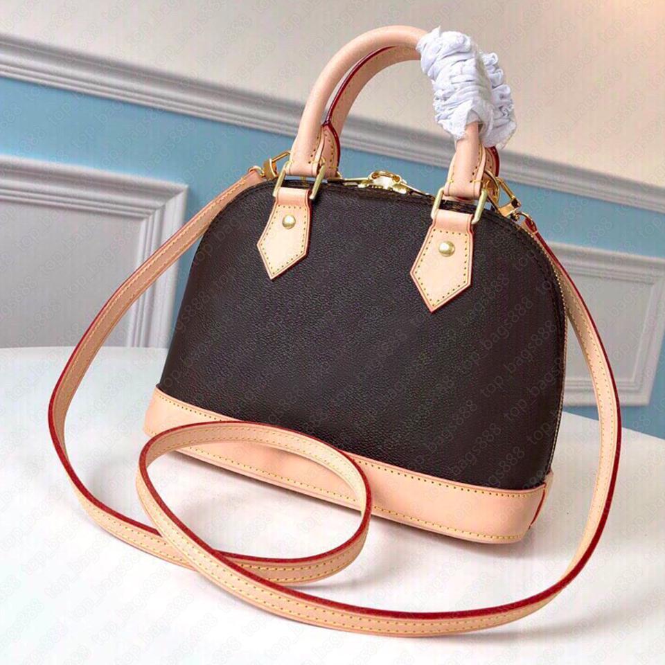 Frauen luxurys designer taschen mit sn box luv klassische braune blumen buchstaben drucken top qualität handtaschen kreuz body schulter almaa bb shelltasche