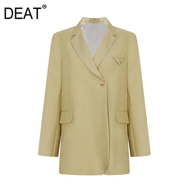 Frauen Gelb Patchwork Taschen Büro Dame Blazer gekerbt Langarm Losejacke Mode Sommer 7E228 210512