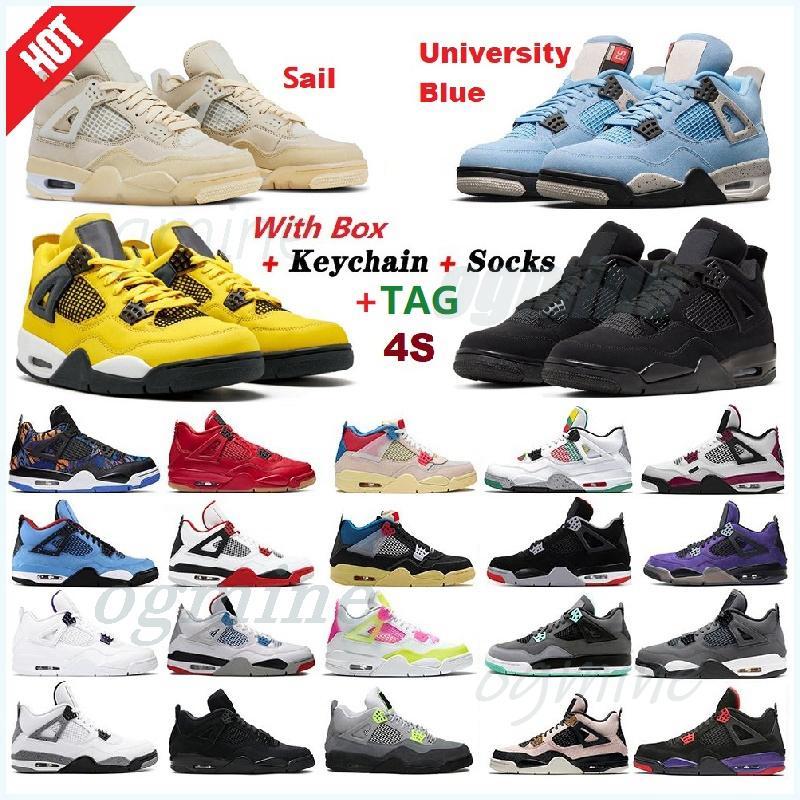 2021 air jordan jordans jordon aj aj4 4 4s union noir guava ice men shoes sail Mushroom Neon metallic purple basketball Sneakers Black cat bred Trainers 36-47