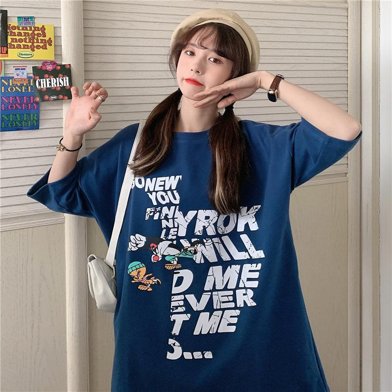 6535 хлопок свободно мультфильм буква напечатана половина рукава футболка женщина 2021 летние новые случайный универсальный студент