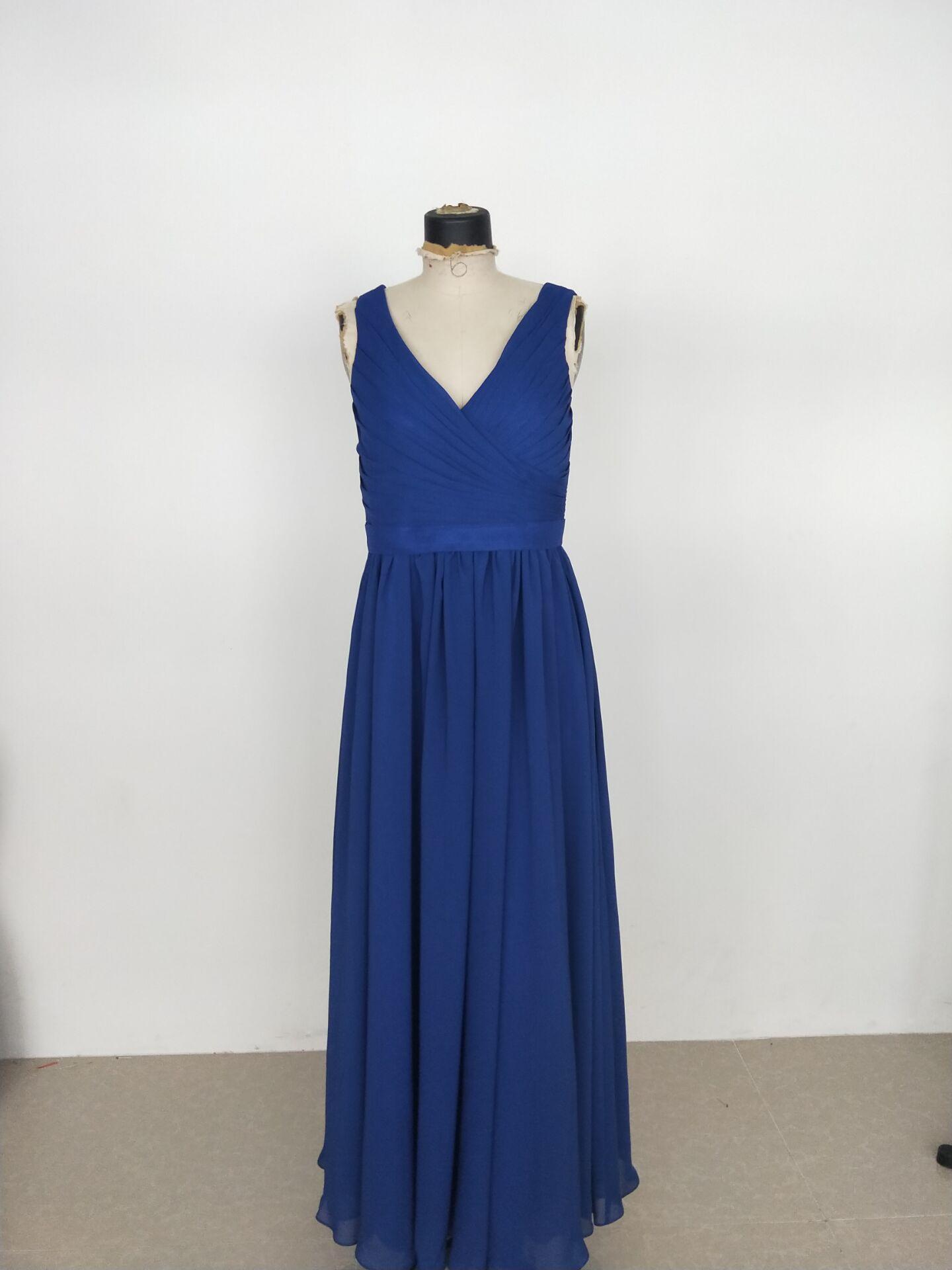 2021 Real pics Chiffon Bridesmaid Dress Sleeveless V-neck and V-back Custom Made Floor Length Maid Of Honor Gown