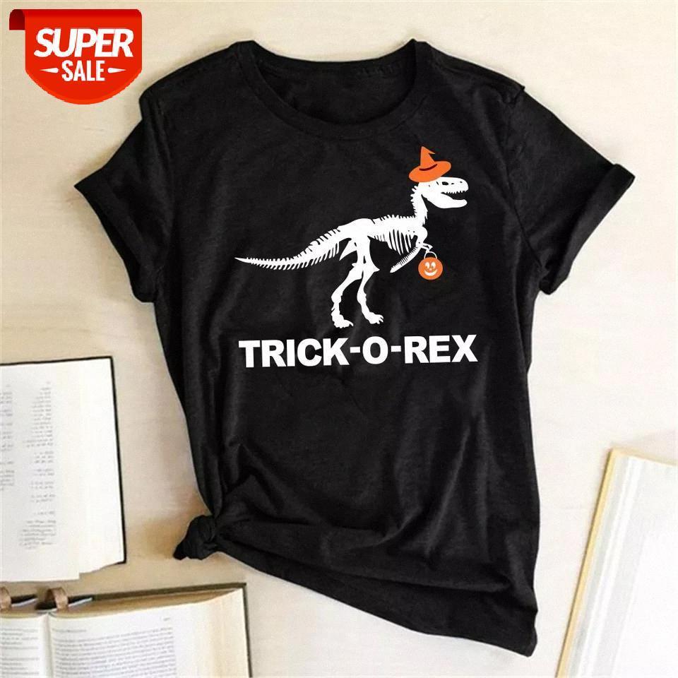 T-shirt Trick-O-Rex Dinozor İskeleti Kabak Fener Baskı Cadılar Bayramı T-Shirt Kadınlar Yaz Estetik Tshirt Kadın Komik Üst Giysi P # UT1K