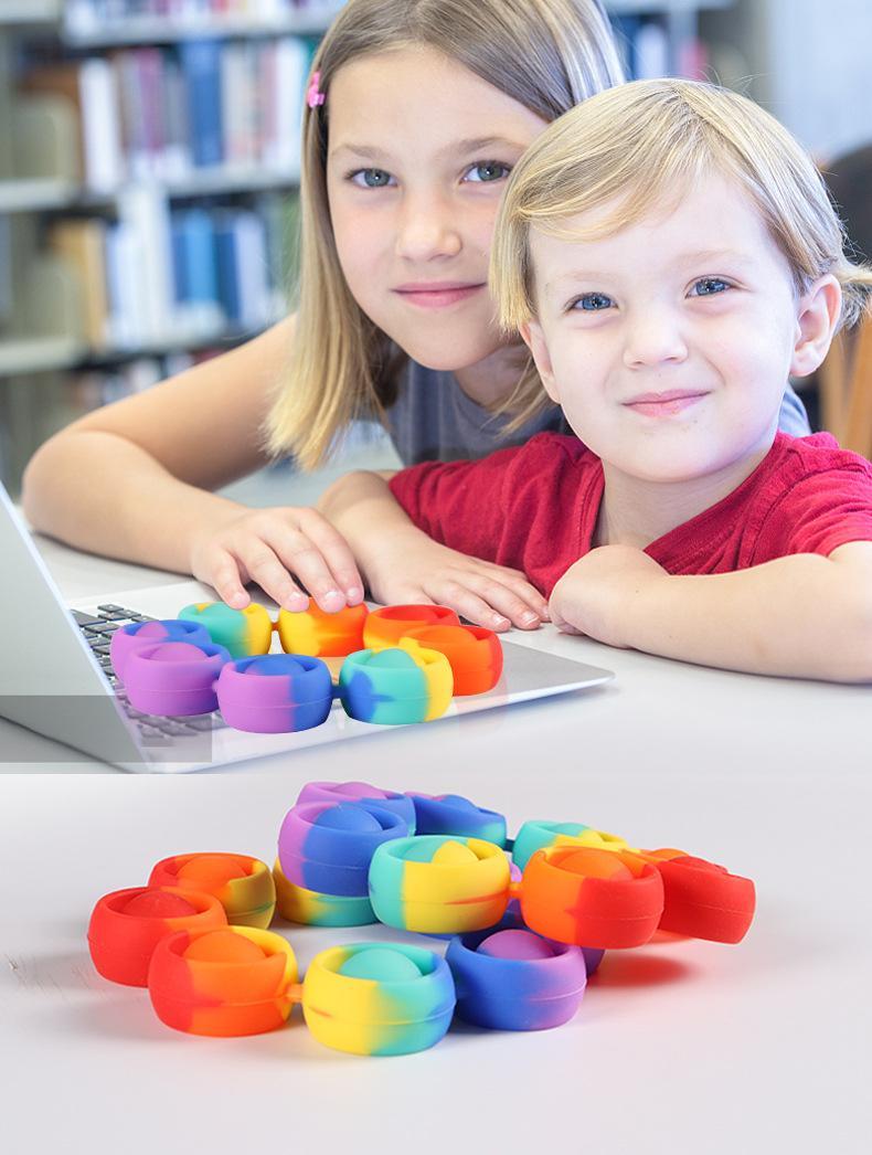 Fidget Driver Toys Toy Toys Rainbow Pulsera Pulse Burbuja Antistress Adulto Niños Sensory Toy Para aliviar el autismo