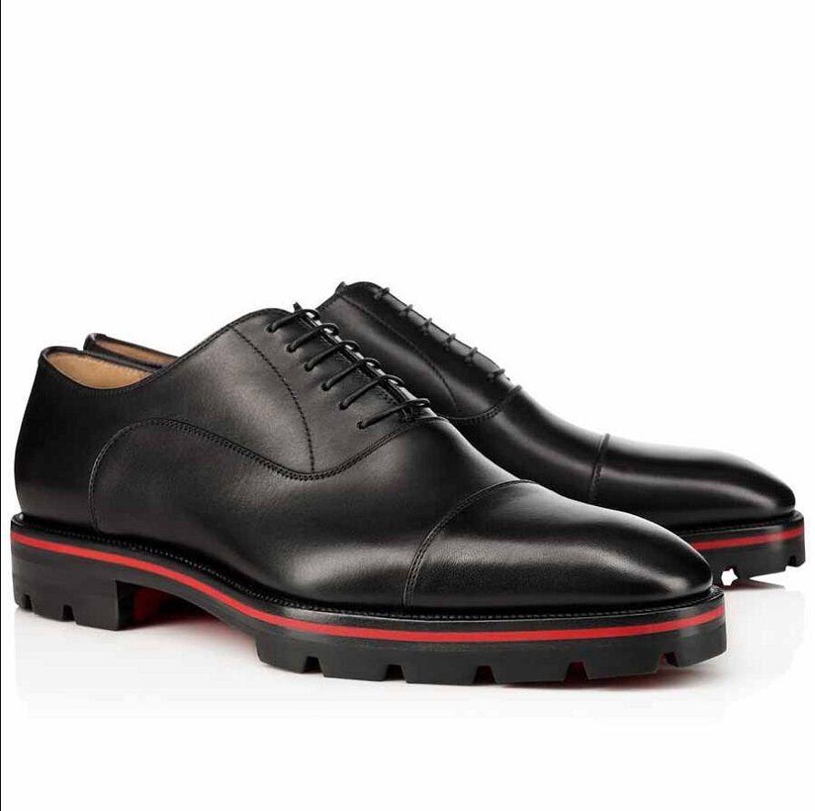 Elegante caballero vestido fiesta mocasines zapatos de lujo rojo abajo Hubertus oxford caminar de cuero genuino alineado Lug Sole Sneakers Nice Perfect Mocasin