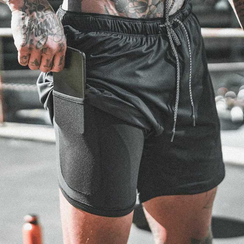 Men 2 in 1 Running Shorts Jogging Gym Fitness Training Quick Dry Beach Short Pants Male Summer Sports Workout Bottoms