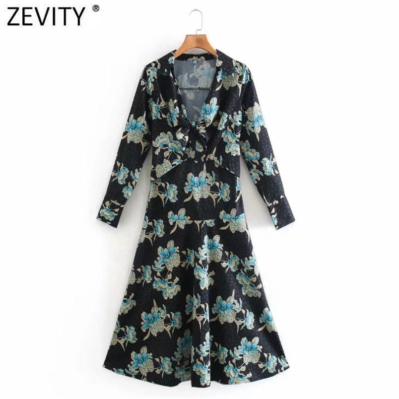 Donne vintage anteriore bowknot fiore stampa casual sottile midi abito femme manica lunga una linea vestido chic abbigliamento DS4794 210420