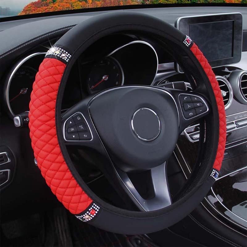 Direksiyon simidi siyah kırmızı kapak kapakları araba elmas elastik fashional 38-37 cm deri parçaları için