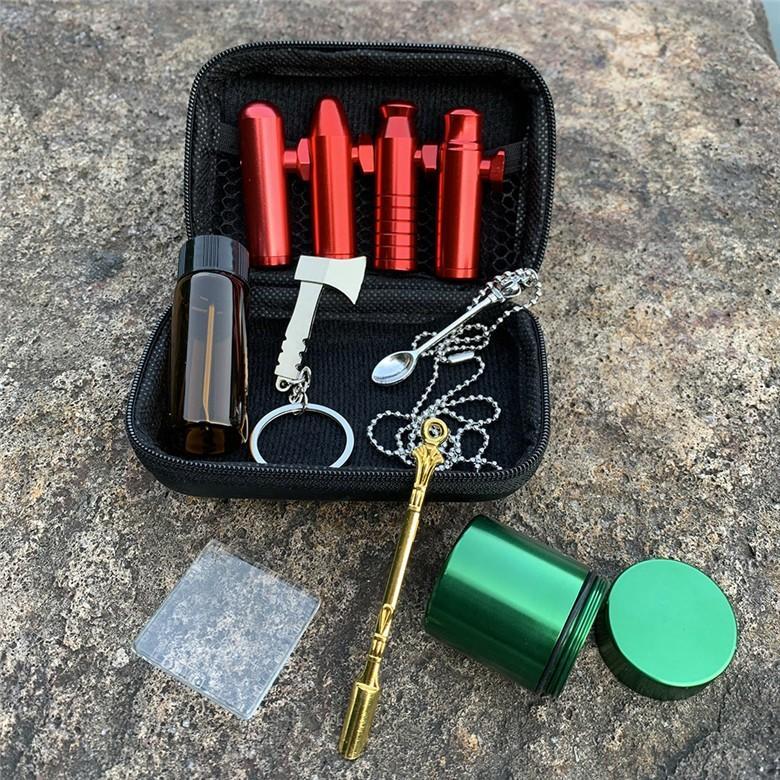 Borsa di tabacco Premium Set in plastica fumo erba grinder stoccaggio barattolo metallo stagno in silicone tubo di fumo con una macchina per laminazione di Dugout BY2458